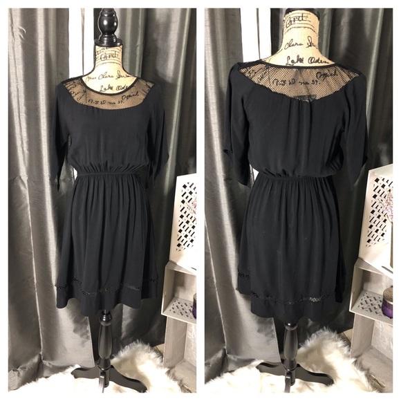 Dresses & Skirts - Black Short Sleeve Dress with Fishnet Inserts